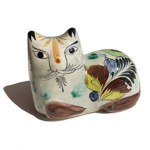 Hand Painted Ceramic Tonala Mexico Laying Cat